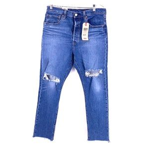 Levi's 501 skinny ripped raw hem jeans size 32